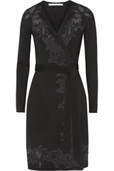 Diane Von Furstenberg Leandra Lace Paneled Wool Blend Jersey Wrap Dress Black