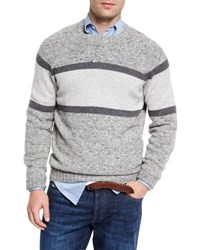 Brunello Cucinelli Striped Donegal Crewneck Sweater Gray