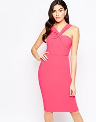 Forever Unique Aisha Aisha Midi Dress With One Shoulder Detail Fuchsia Pink