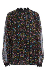 Cynthia Rowley Mini Floral High Neck Blouse