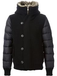 Bark Knitted And Padded Hooded Jacket Black