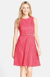 Belted Cotton Eyelet Fit And Flare Dress