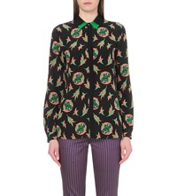 Etro Geometric Print Silk Shirt Paisley Leaves