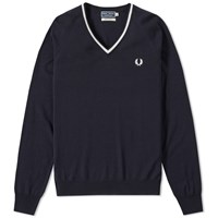 Fred Perry Single Tipped Merino V Neck Sweater Blue