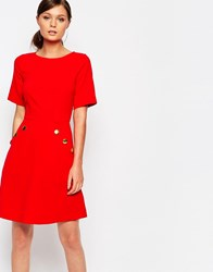 Closet Mini Dress With Button Detail Pockets Red Pink