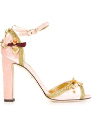 Dolce And Gabbana Flower Applique Sandals Pink And Purple