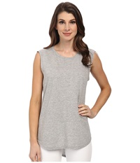 Michael Stars Hi Low Muscle Tank Top Heather Grey Women's Sleeveless Gray