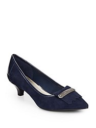 Ak Anne Klein Suede And Patent Leather Pumps Navy