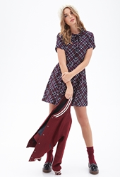 Forever 21 Plaid Print Pleated Shirtdress