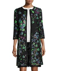 Andrew Gn Classic 3 4 Sleeve Embroidered Matelasse Coat Black Blue Green Black Blue Green