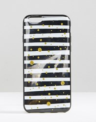 Signature Iphone 6 Case In Stripe Print White Black Gold