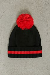 Forever 21 Men Stripe Trim Pom Pom Beanie