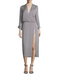 Halston Long Sleeve Draped Midi Dress Grey