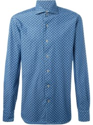 Barba Floral Print Shirt Blue