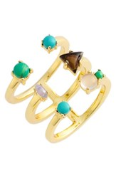 Jules Smith Designs Women's 'Axel' Ring Gold Opal Turquoise Silver