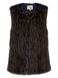Yumi Two Toned Faux Fur Gilet Multi Coloured