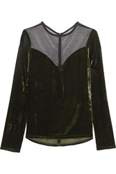 Lanvin Tulle Paneled Velvet Top Army Green
