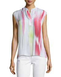 Elie Tahari Decklan Sleeveless Multi Shade Silk Blouse