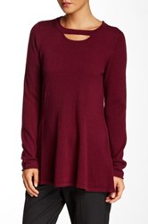 Cullen Fit And Flare Cutout Neck Cashmere Sweater Red