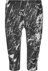Norma Kamali Cropped Printed Stretch Jersey Leggings