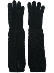 Moncler Ribbed Long Gloves Black