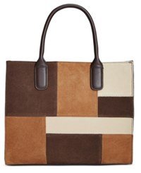 Giani Bernini Suede Patchwork Satchel Only At Macy's Chocolate Multi