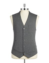 Black Brown Knit Button Front Vest