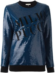 Emilio Pucci Sequin Embellished Sweatshirt Blue