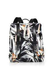 Proenza Schouler Ps1 Floral Leather Trim Nylon Backpack Black Multi