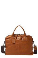 Men's Fossil 'Wyatt' Leather Work Bag Brown Saddle