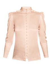 Hillier Bartley High Neck Satin Blouse Nude