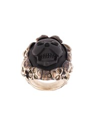 Amedeo Embossed Skull Ring Black