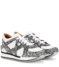 Jimmy Choo London Glitter Embellished Leather Sneakers White
