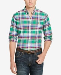 Polo Ralph Lauren Men's Long Sleeve Slim Fit Checked Stretch Oxford Shirt Green Wine Multi