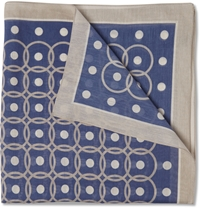 Boglioli Printed Cotton And Silk Blend Pocket Square Blue