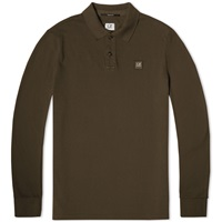 C.P. Company Long Sleeve Garment Dyed Pique Polo Olive