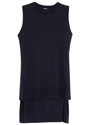 Adam By Adam Lippes Navy Fine Knit Cotton Blend Tunic