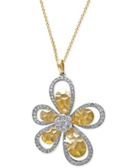 Effy Collection Diamond Flower Pendant Necklace 1 Ct. T.W. In 14K White And Yellow Gold No Color