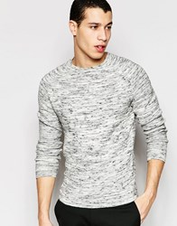 Selected Homme Flecked Matthew Crew Neck Jumper Lgm Light Grey Marl