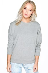 Boohoo Crew Neck Sweat Shirt Grey Marl