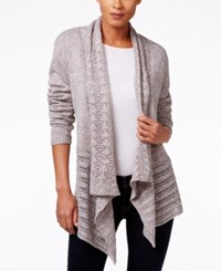 Karen Scott Pointelle Knit Open Front Cardigan Only At Macy's Gull Marl