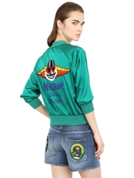 People Embellished Silk Satin Bomber Jacket Green