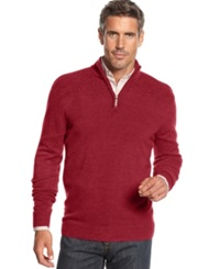 Geoffrey Beene Sweater Quarter Zip Mock Neck Ribbed Yoke Pullover Wine