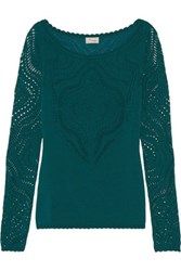 Temperley London Raya Open Knit Top Emerald