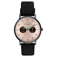 Ted Baker Men's Brit Day Leather Strap Watch Black Pink