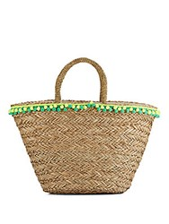 Saks Fifth Avenue Seagrass Tote Yellow Green