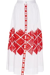 Temperley London Amalfi Cutout Embroidered Cotton Voile Maxi Skirt White