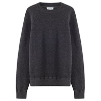 Jigsaw Wool Cotton Crew Neck Jumper Charcoal