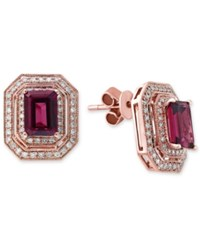 Effy Collection Bordeaux By Effy Rhodolite Garnet 2 1 2 Ct. T.W. And Diamond 3 8 Ct. T.W. Double Halo Stud Earrings In 14K Rose Gold