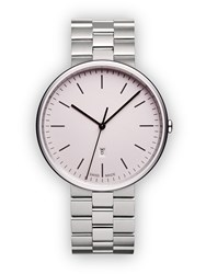 Uniform Wares M38 Women's Date Watch In Polished Steel With Polished And Brushed Silver